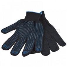 Перчатки хб 4 нити 10 класс с ПВХ черные